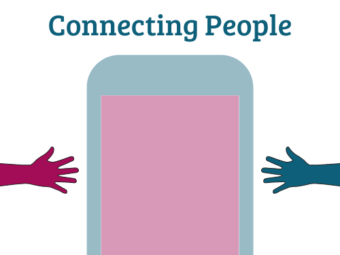 Two hands reaching to each other with phone in the middle. Text saying Connecting People